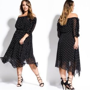 City Chic Polka Dot Off The Shoulder Dress